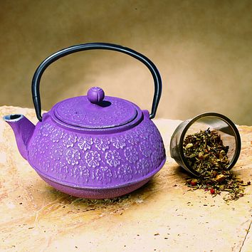 """Cherry Blossom"" Tetsubin Teapot Available in Plum, Purple Gold or Red Gold"