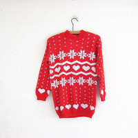 vintage ugly Christmas sweater // tacky christmas sweater // holiday party sweater w snowflakes in red and white. size S