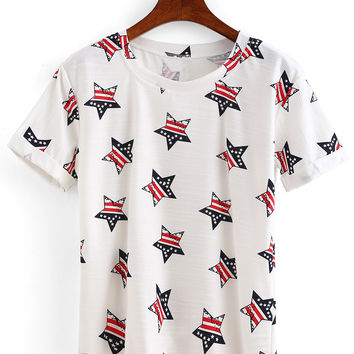 Rolled Sleeve Star Print T-shirt