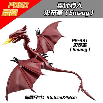 Single Sale PG931 The Hobbit Smaug Fire dragon monster Building block toy