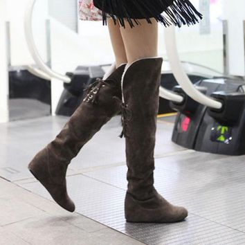 Faux Suede Over the Knee Flat Warm Boots