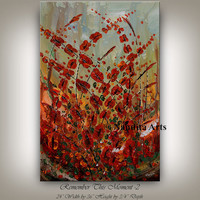 Flower Painting Original Abstract Floral Painting on stretched canvas, READY TO HANG Flower Realism Painting Red Wall Art, ArtWork