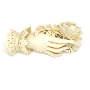 """Rare Antique Ivory Brooch Woman's Hand Holding Flowers Hand Carved  2 1/2"""" Ultra-Victorian Large"""