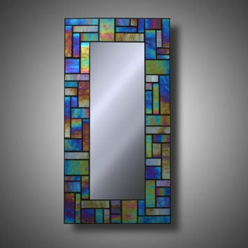 "Iridescent Stained Glass Mosaic Mirror made with Kokomo Glass 8"" x 16"""