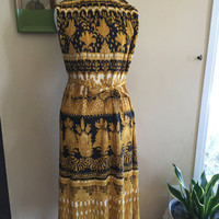 80s Pleated Print Dress Black Yellow and Cream Size Medium/Large