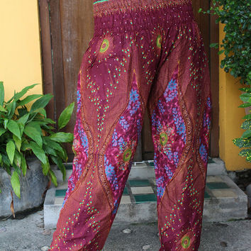 Festival Pants Yoga Hippie Boho pants Peacock Design Red berry One Size Fits