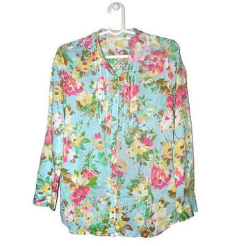 Light Blue Floral Button Up Blouse Flower Button Down Womens Shirts J Jill Small S