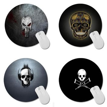 Punisher Pattern Prints Mouse Pad Skull head Small Size Round Gaming Non-Skid Rubber Pad