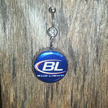 Bud Light Beer Bottle Cap Belly Button Ring