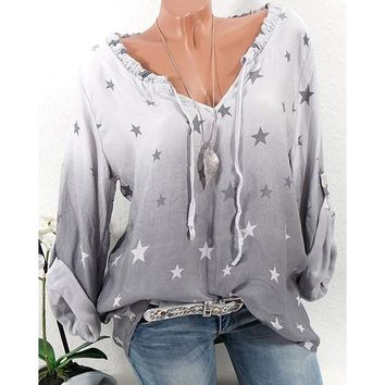 Women's New Fashion V-neck Ombre Star Printed Shirts Long Sleeve Casual Tops