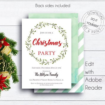 Christmas Wreath Holiday Invite, Christmas Party, Holiday Invitation, Party Invite, Xmas Invitation, Christmas Dinner, Christmas Time