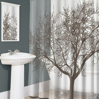 "Mocha Tree - PEVA Shower Curtain - 70"" X 72"""