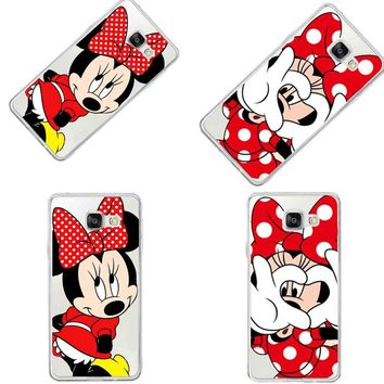 Funny Emoji Cover For Samsung A3 A5 A7 J1 J5 J7 2016 Cartoon Minnie Mickey Mouse Stitch Daisy Duck Back Cover Coque Capa Cases