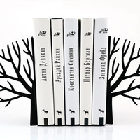 Minimalistic bookends - Winter trees - Scandinavia inspired item black color (velvety to touch)
