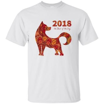 Red Orange Design Dog Chinese New Year Akita Shiba Inu Shirt