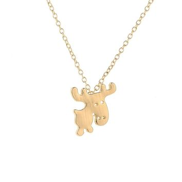 New Fashion Cute Animal Necklace Jewelry Lovely Little Moose Necklace Cartoon Style Big Head Christmas Gift For Friends