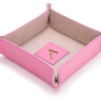 Monogram Leather Valet Tray, Pink