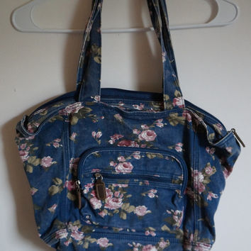 Vintage Floral Tote Bag, Vintage Denim Tote Bag, Floral Bag, Floral Purse, 90s Grunge, Grunge Purse, Grunge Bag, Denim Bag, Denim Purse