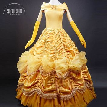 Princess Belle Costume Adult Women Beauty And The Beast Costume For Halloween Cosplay Dress Special Offer Free Shipping