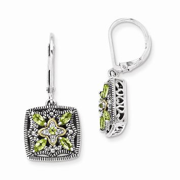 Antique Style Sterling Silver with 14k Gold Diamond & Peridot Earrings