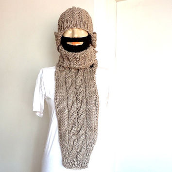 hand knitted neck warmer  chest heater dark beige cable model.