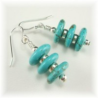 Turquoise and Silver Earrings by LOCDesignStudio on Zibbet