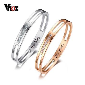 Vnox Customize Info Free Engraving Cuff Bangle for Women Men Trendy Cubic Zirconia Stainless Steel Privately-made Lover Bracelet