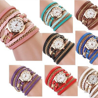 Explosion Models Vintage Weave Rope Leather Charm Women Elegant Ladies Cute Girl Colourful Bracelet Watch 8 Colors ZWK001 = 1958208068