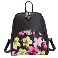 MapleClan Floral Print Faux Leather PU Zipper Backpack