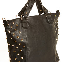 Tell Me Every Detail Spiked Black Tote