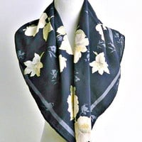 Vintage Halston Scarf, Womens Designer Scarf, Navy Blue, Beige, Floral, Large Square Chiffon Scarf.