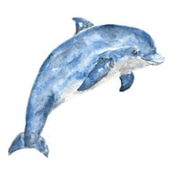Dolphin watercolor painting, watercolor animals, beach print, dolphin print, dolphin art, beach art, beach painting, ocean nursery art, 10X8