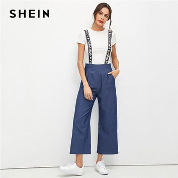SHEIN Weekend Casual Blue Casual Pleated Front Slant Pocket Pinafore Zipper Fly Mid Waist Wide Leg Pants Autumn Women Trousers