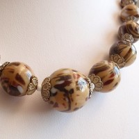 Graduated Brown Glass Necklace Choker Neutral Czech Beads Marbled Vintage