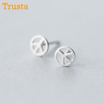 Trusta 100% 925 Sterling Silver Jewelry Fashion Cute Tiny 6mmX6mm Anti-war Plane Stud Earrings Gift for Girls Kids Lady DS51