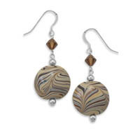 French Wire Earrings with Austrian Crystals and Brown Swirl Glass Bead