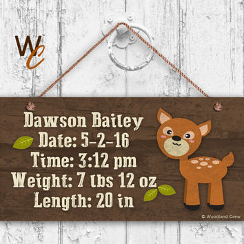 "Baby Birth Stats Wood Sign, Woodland DEER Personalized Sign, Baby Shower Gift, Remember Child's Birth, Baby Nursery  5"" x 10"" Sign"