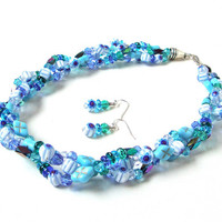 Triple strand braided turquoise blue and white beaded necklace set - multi strand twisted blue glass beaded necklace by Sparkle City Jewelry