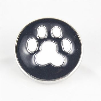 Metal Snap Buttons 18mm for Leather Bracelet Dog Paw Charms For Women Girl Birthday Party Gift New 2017