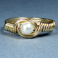 Swarovksi Pearl 14k Gold Filled Ring Choice of 56 Crystals and Gemstones