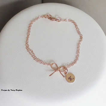 Bracelet 14K Rose Gold filled Personalized Initial Disc Bow Pendant Best Friend Bridesmaid Girlfriend Maid of Honor Mother Sister Gift Idea