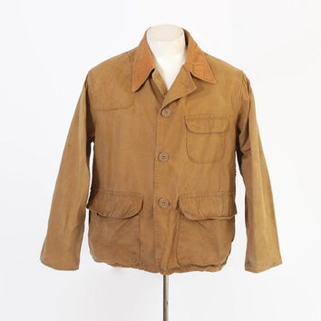 Vintage 60s Hunting JACKET / 1960s Redhead Tan Canvas Field Coat L
