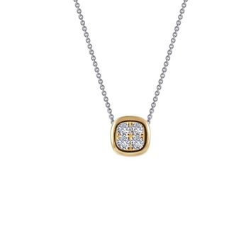 Lafonn Yellow Gold Plated Bezel Style Cluster Solitaire Simulated Diamond Necklace