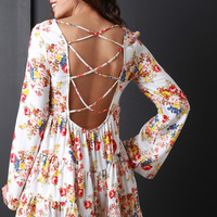 Floral Laced Back Tiered Shift Mini Dress