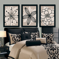 Brown Beige Black Flower Burst Outline Dahlia Floral Bloom Artwork Set of 3 Prints WALL Decor Abstract ART Picture Bedroom Bathroom