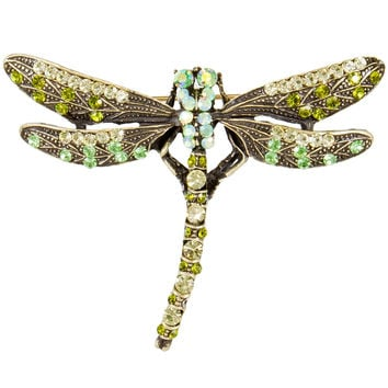 Dragonfly Gemmed Bronzed Body Brooch