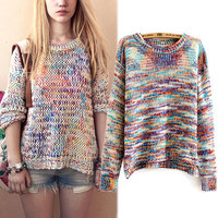 Women's Fashion Gradient Sweater Pullover Round-neck Split Knit Tops Winter Jacket [8216447873]