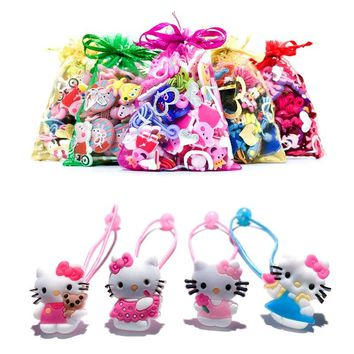 1Pair/Lot Lovely Hello Kitty Baby Girls' Elastic Hair Band Rubber Headbands Soft Fabric Headwear Children Hair Accessories