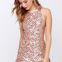 Pretty Amazing Rose Gold Sequin Dress