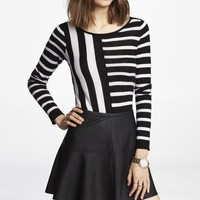 MIXED STRIPE BATEAU NECK SWEATER